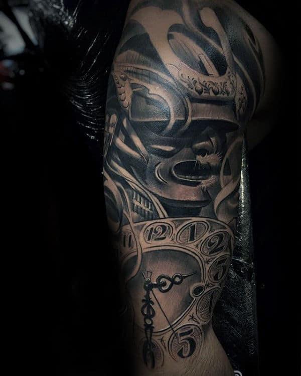 Clock With Samurai Helmet Mens Sleeve Tattoos