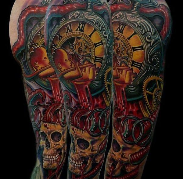 Clock With Skull Full Sleeve Modern Tattoos For Men