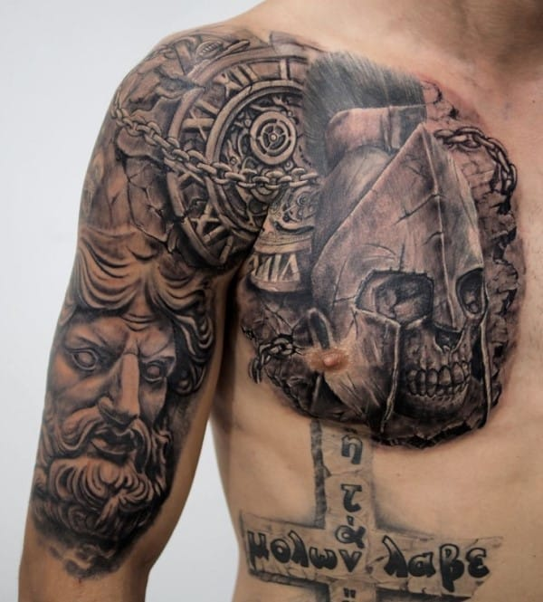 Clock With Skull Warrior Stone Guys Chest Tattoos