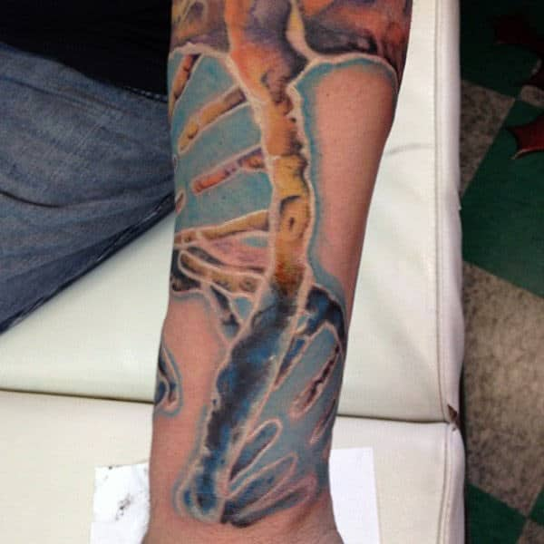 Close Up Dna Realistic Male Tattoo On Forearm
