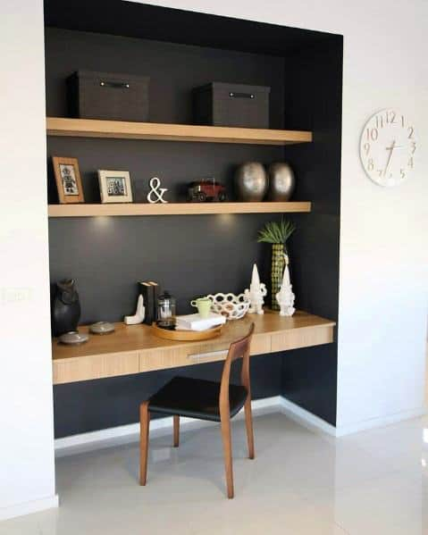 Closet Office Ideas Inspiration Painted Black With Wood Desk