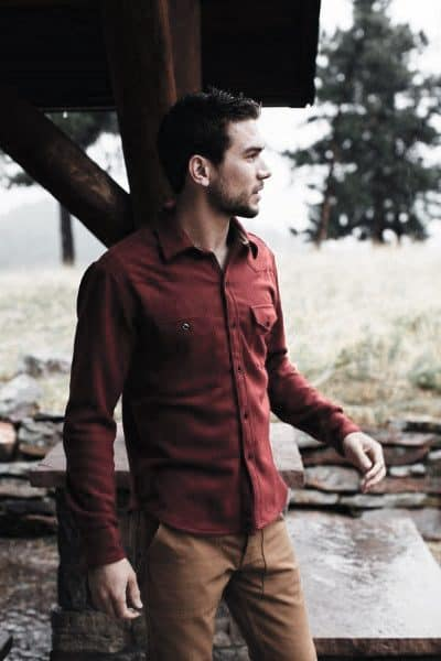 Clothes For Guys Fall Outfits Styles Red Shirt With Tan Pants