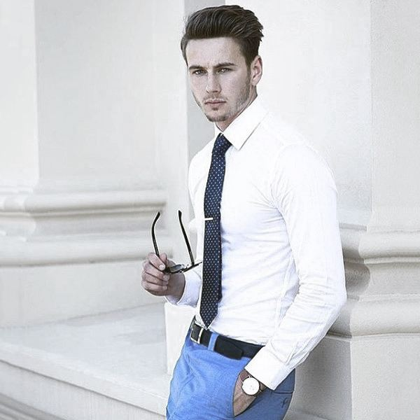 Clothing Fashion For Men Trendy Outfits White Dress Shirt With Blue Pants