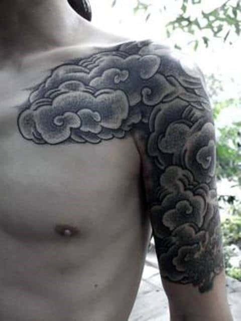 Cloud Male Half Sleeve And Chest Tattoo With Dotwork Design