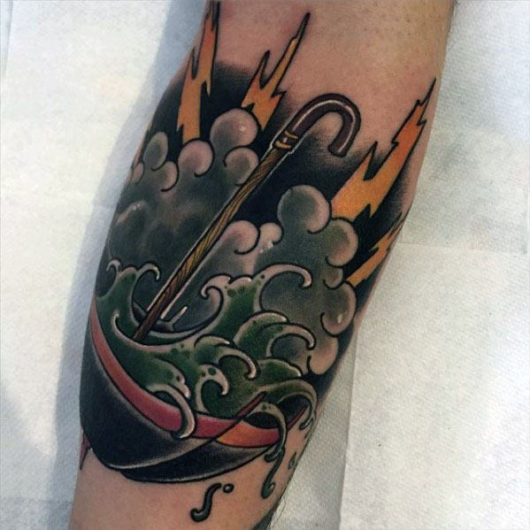 Cloud With Ocean Wave And Umbrella Tattoos Guys On Forearm