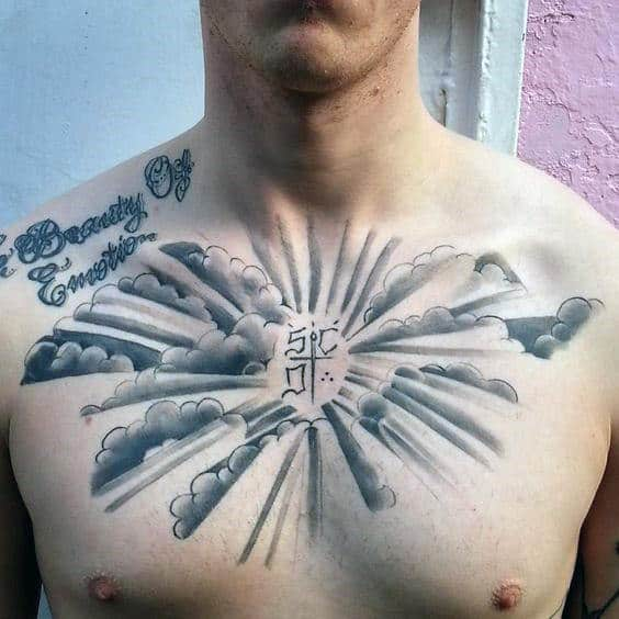 Clouds Guys Black And Grey Ink Shaded Upper Chest Tattoo