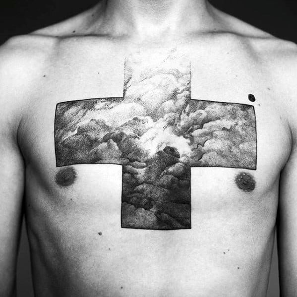 Clouds Heaven With Cross Mens Badass Upper Chest Tattoo
