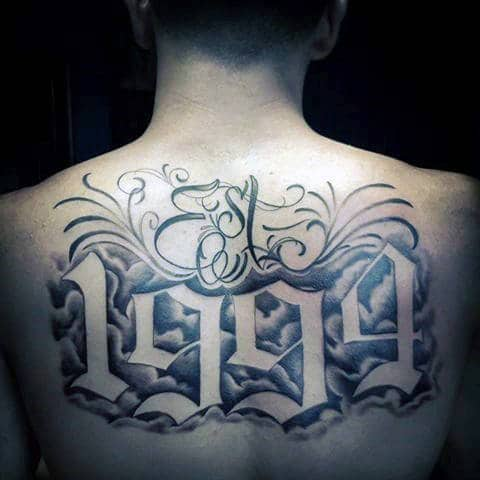 Clouds With 1994 And Est Script Lettering Guys Back Tattoos
