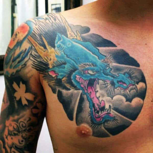 Clouds With Blue Japanese Dragon Guys Chest Tattoos