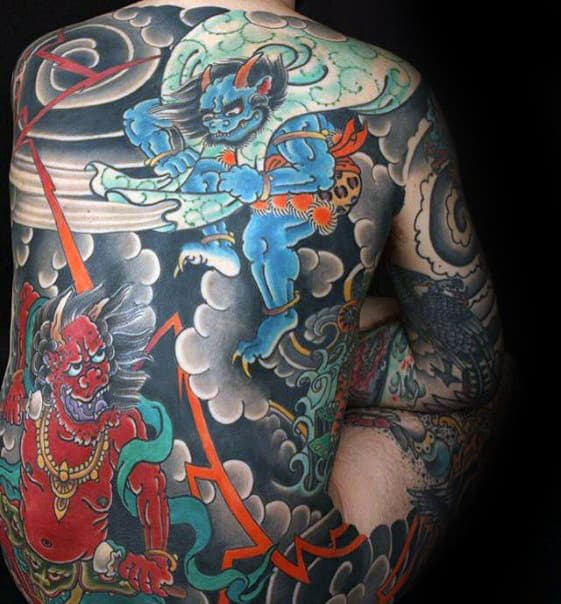 Clouds With Demons Guys Japanese Full Back Tattoo