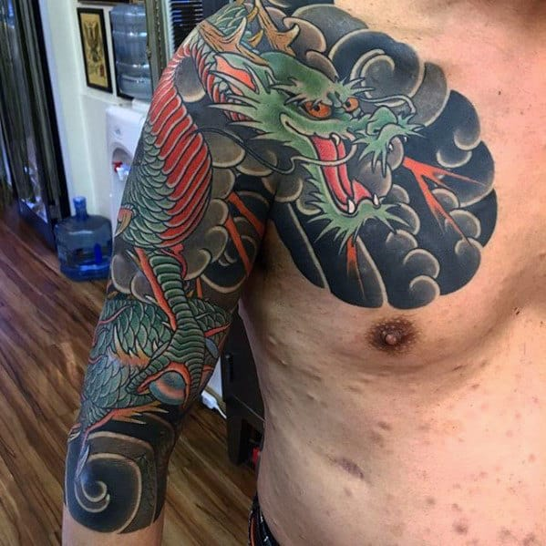 Clouds With Dragon Japanese Male Half Sleeve Tattoo Ideas