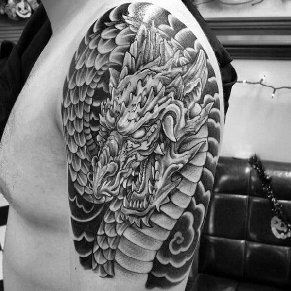 Clouds With Dragon Mens Japanese Arm Tattoos
