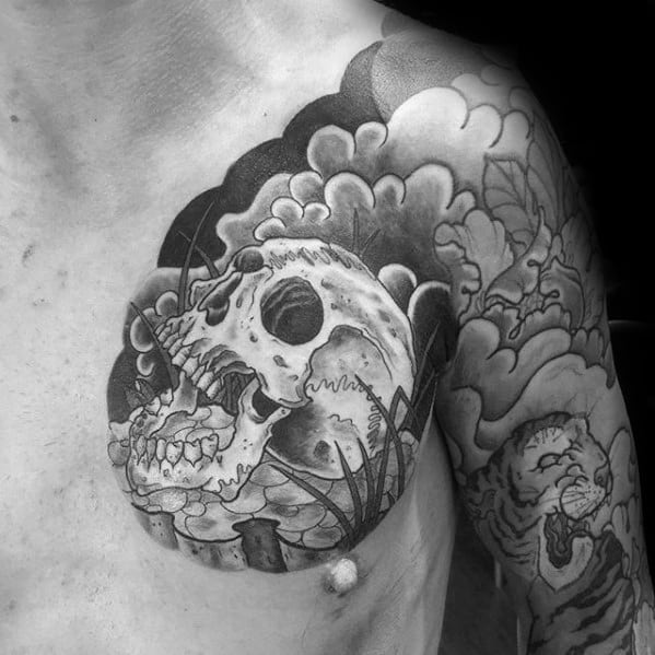 Clouds With Japanese Skull Chest And Arm Tattoos For Men