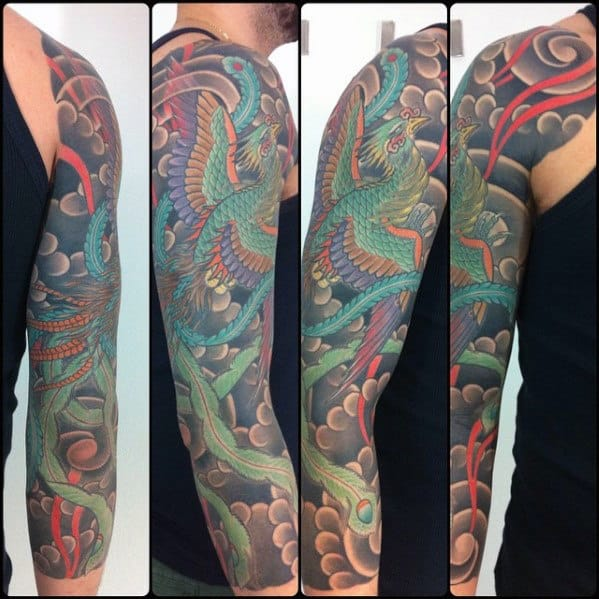 Clouds With Phoenix Mens Japanese Half Sleeve Tattoos