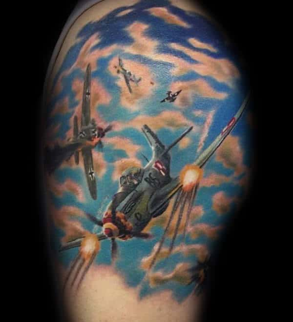 Clouds With Planes Mens Ww2 Quarter Sleeve Tattoos
