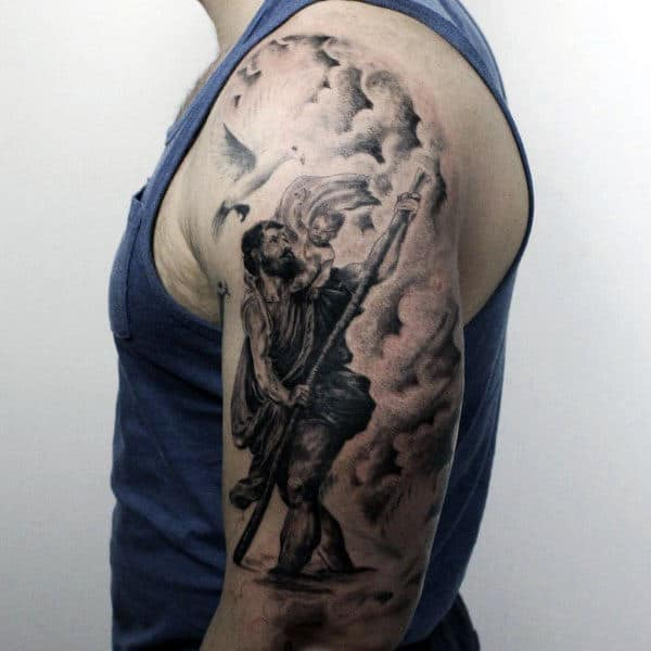 Clouds With Saint Christopher Mens Half Sleeve Tattoos