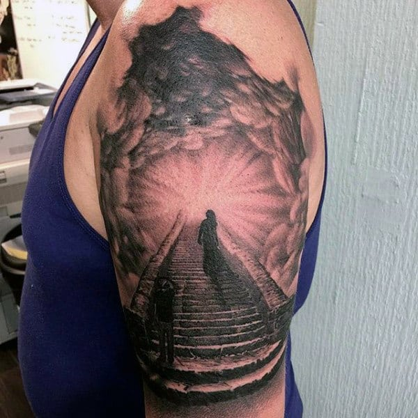Clouds With Stairs To Heaven Tattoo For Men On Upper Arm