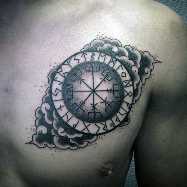 Clouds With Viking Compass Guys Upper Chest Tattoo Designs