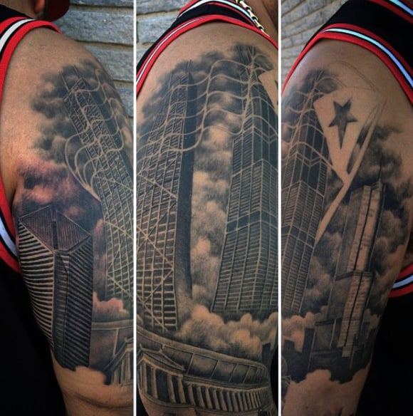 Cloudy Mens Chicago Skyline Upper Arm Tattoo