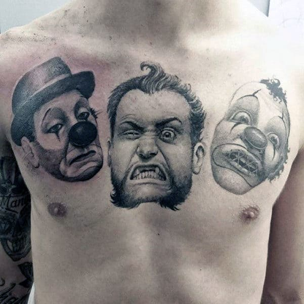 Clown Faces Guys Tattoo Designs On Upper Chest