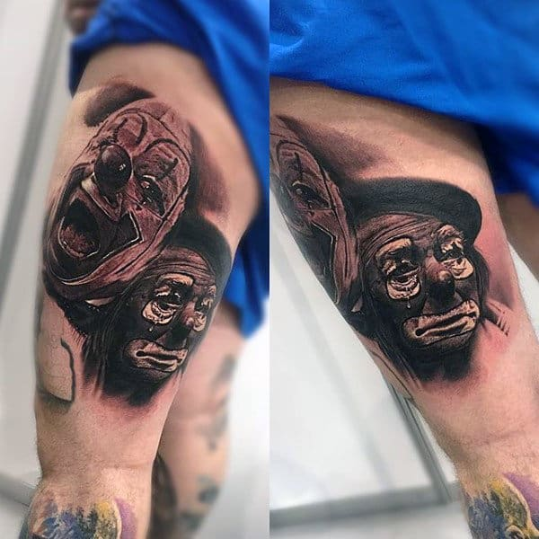 Clown Faces Mens Thigh Tattoos