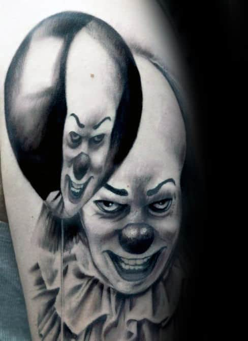 Clown With Ballon Reflection Mens Arm Tattoos