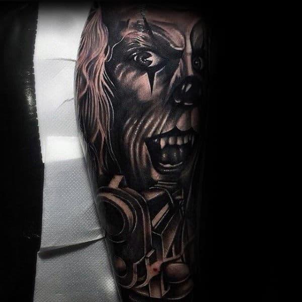 Clown With Pistol Guys Leg Sleeve Tattoos