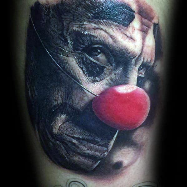 Clown With Red Nose Mens Arm Tattoos