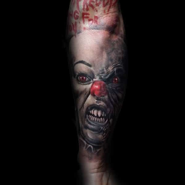 Clown With White Makeup Mens Forearm Sleeve Tattoo