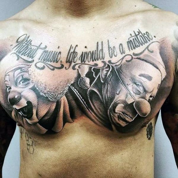 Clowns Mens Chest Tattoos