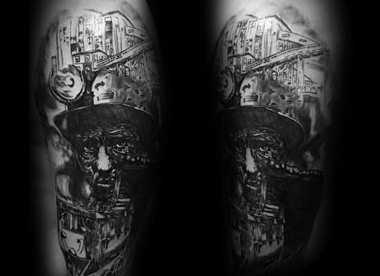 Coal Mining Tattoo Design Ideas For Men