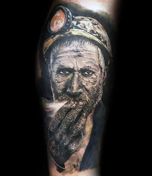 Coal Mining Themed Tattoo Ideas For Men