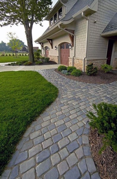 Cobblestone Front Yard Ideas Paver Walkway