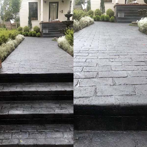 Cobblestone Look Stamped Concrete Walkway Spectacular Ideas