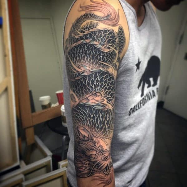 Cobra Like Dragon Tattoo Male Full Sleeves