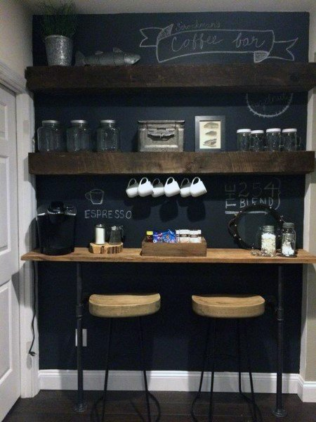 Coffee Bar With Chalkboard Wall And Two Bar Stools