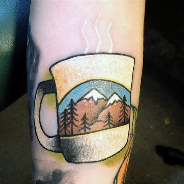 Coffee Mug In White Ink Tattoo With Mountain Design For Men