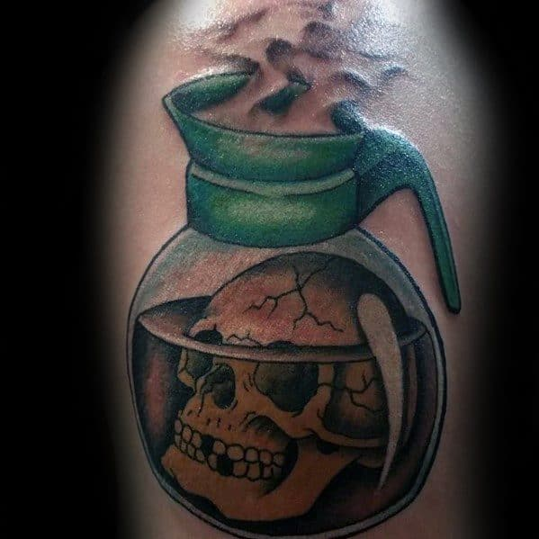 Coffee Pot With Skull Arm Tattoo Ideas For Gentlemen