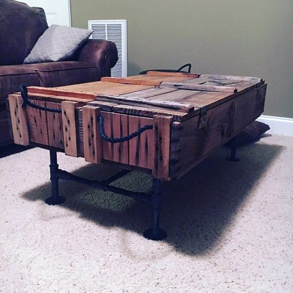 Coffee Table With Ammo Crate Bachelor Pad Furniture Ideas