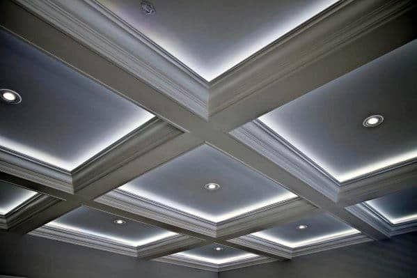 Coffered Ceiling White Led Crown Molding Lighting Design Idea Inspiration
