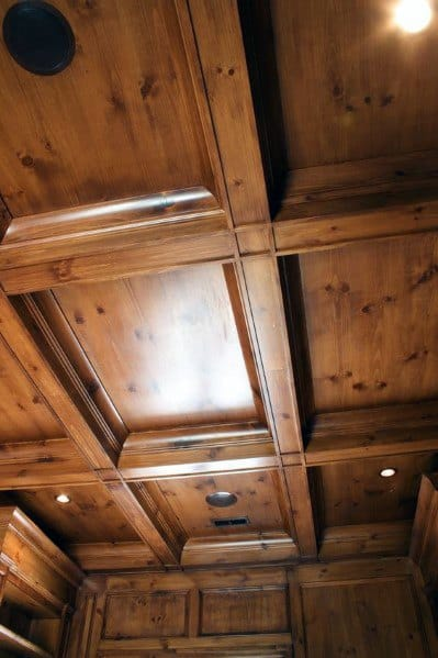Coffered Ceiling Wood Finished Interior Ideas