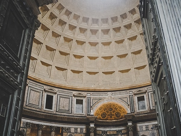 Coffered Dome Inside Of The Pantheon Rome
