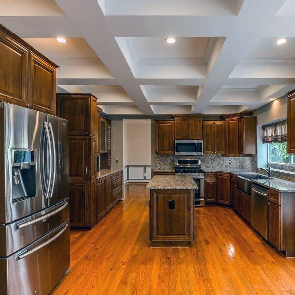 Coffered Drywall Simple Kitchen Ceiling Ideas With Wood Cabinets And Hardwood Floors