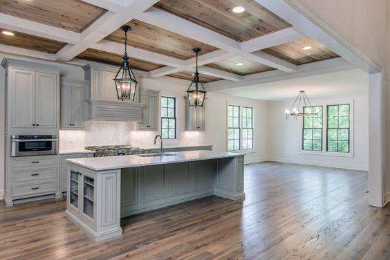 Coffered Kitchen Wood Ceiling Ideas
