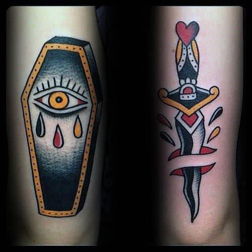 Coffin Eye Traditional Mens Arm Tattoos
