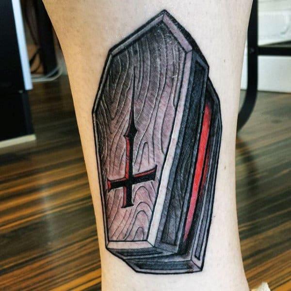 Coffin Mens Cross Wooden Casket Coffin Tattoo On Arm