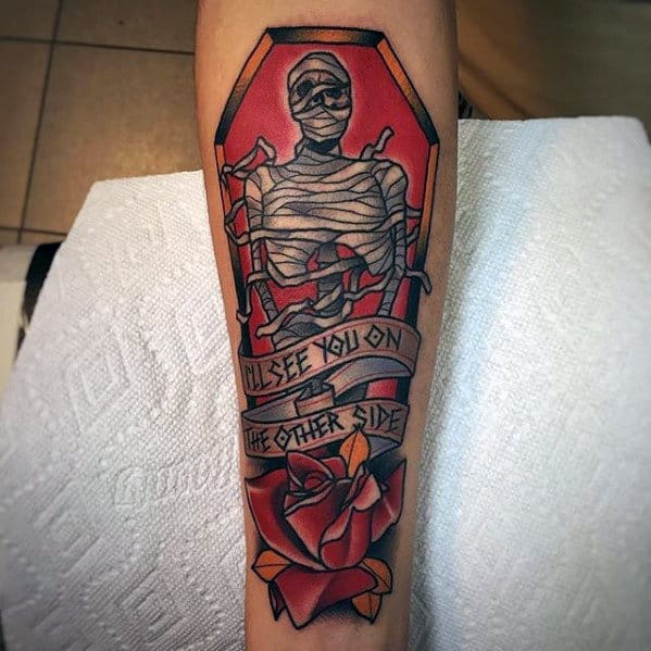 Coffin Mummy Mens Old School Traditional Inner Forearm Tattoos