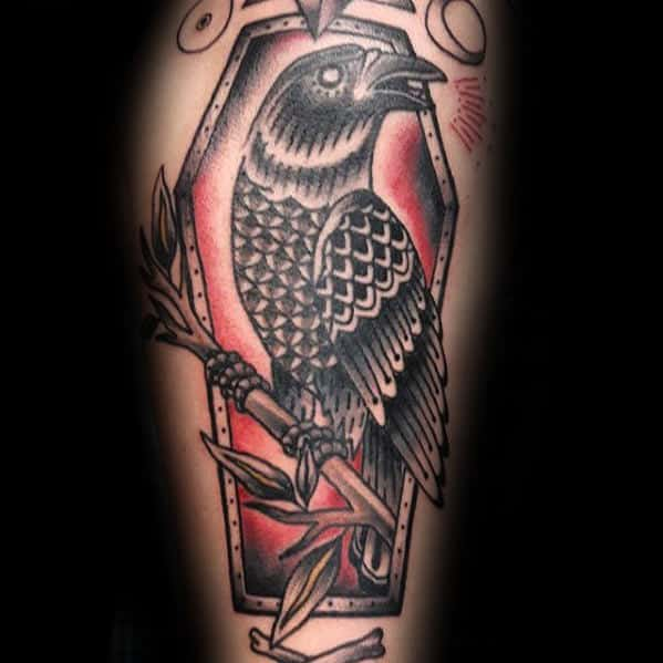 Coffin With Crow Traditional Arm Tattoos For Guys