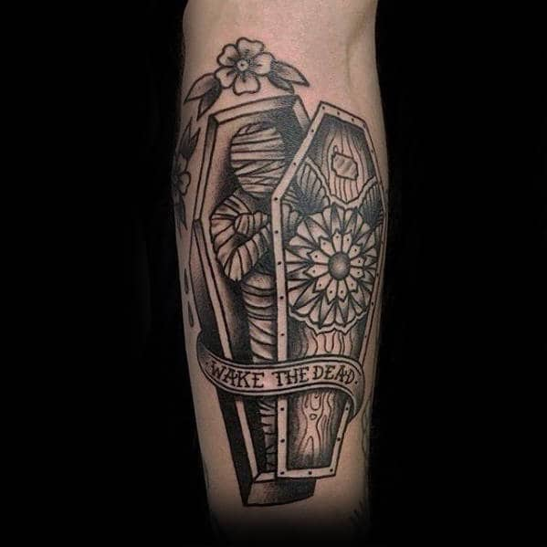Coffin With Mummy Wake The Dead Guys Outer Arm Tattoos