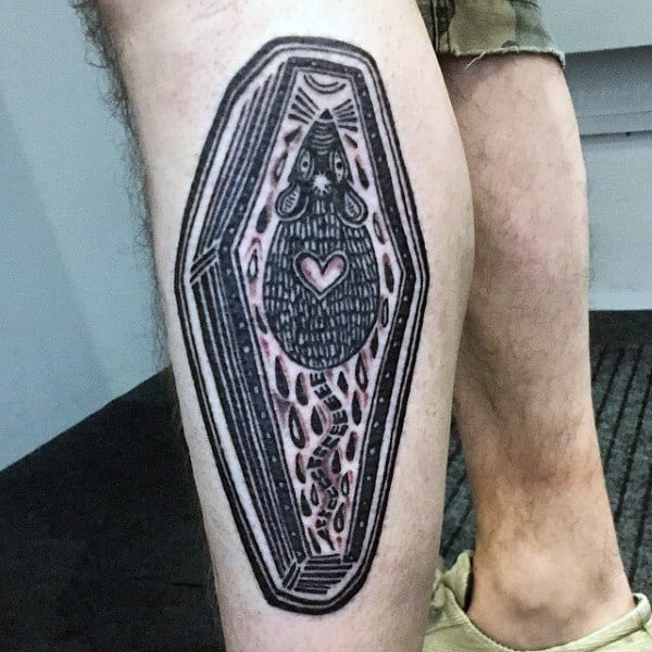 Coffin With Rat Mens Black Ink Leg Tattoo Design Ideas